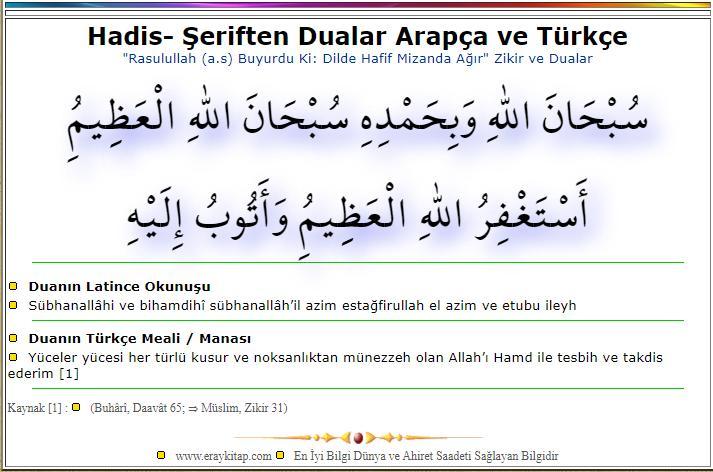 Dua Arapça ve Türkçe