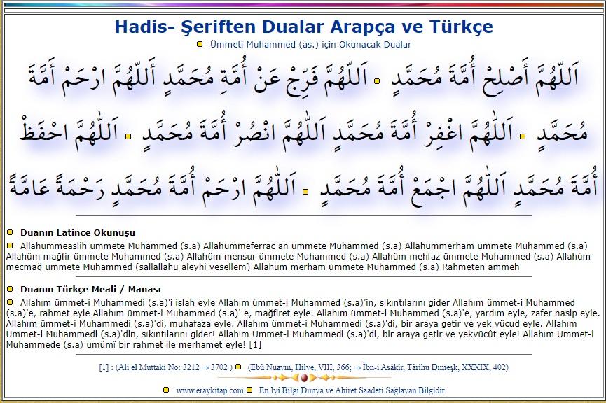 Ümmeti Muhammed (a.s) için Okunacak Dua
